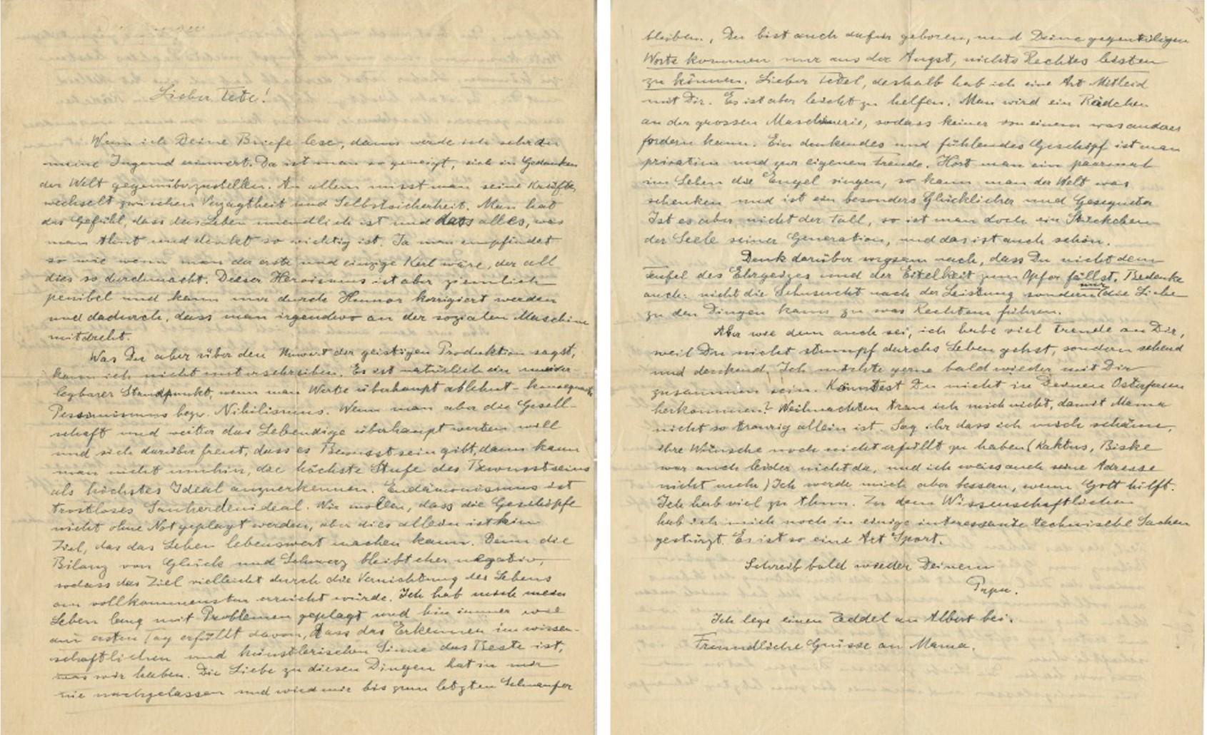 """En una carta a su hijo Eduard, Albert Einstein escribió sobre la juventud. """"Cuando eres joven, tiendes a oponerte mentalmente al mundo"""", escribió (Profiles in History)."""