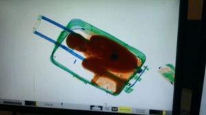 La guardia civil española descubrió, a través de rayos x, a Adou Ouattara, de 8 años de edad, en una maleta de mano de una mujer de 19 años.