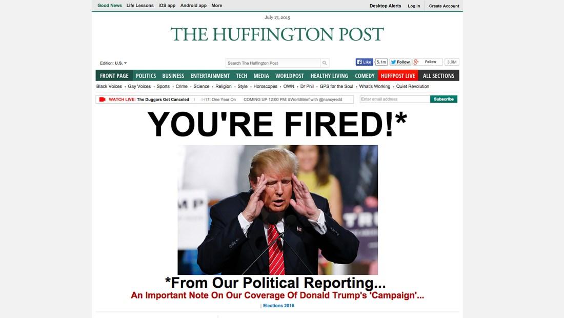 Para el Huffington Post, Donald Trump es un personaje de entretenimiento, no de política.