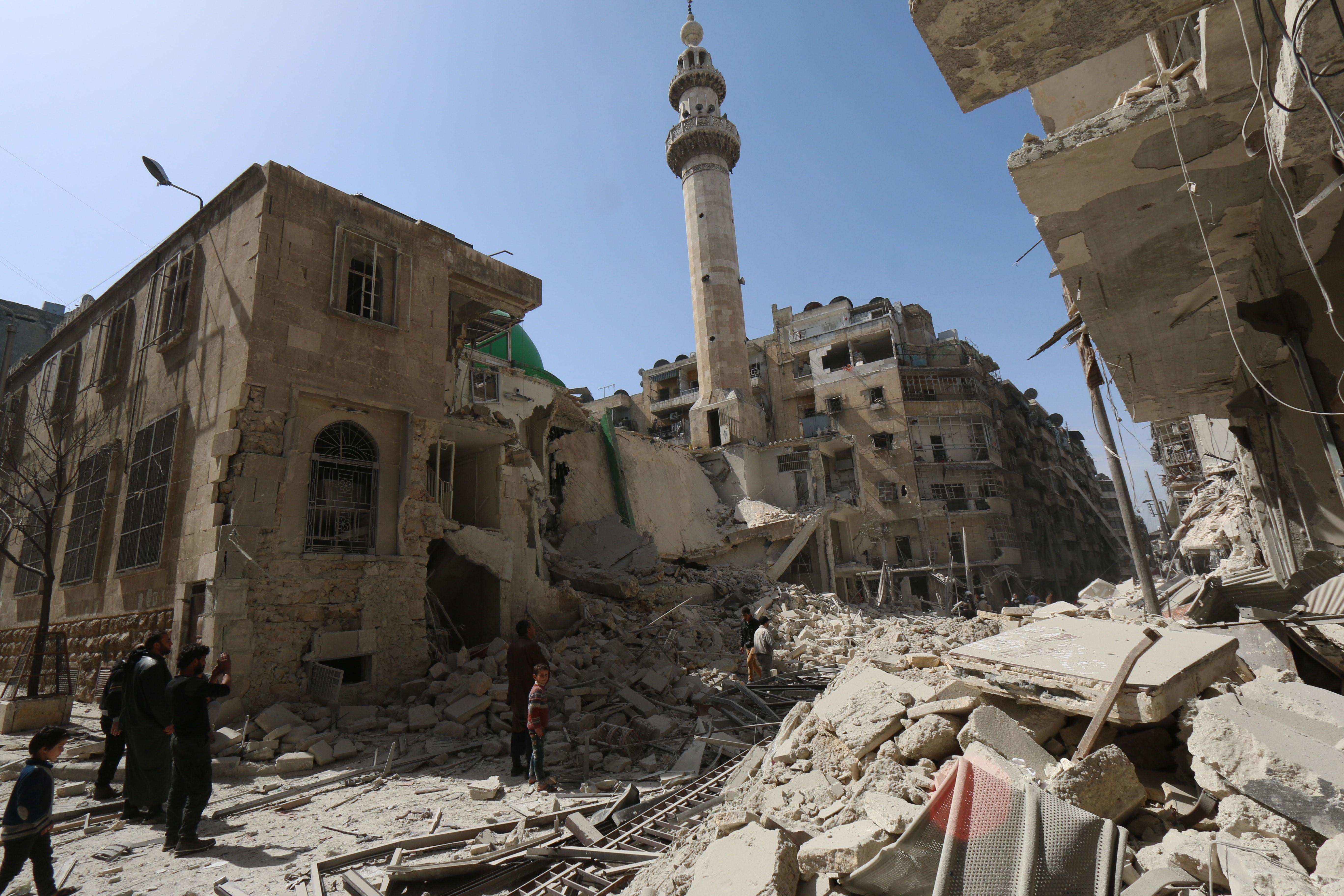 Alepo, Siria, destruída por la guerra civil que completa ya 5 años. (Crédito:ZEIN AL-RIFAI/AFP/Getty Images)
