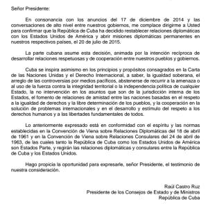 El gobierno cubano envió este documento a su par estadounidense confirmando la fecha de la apertura de las embajadas en ambos países. (Crédito: Departamento de Estado EE.UU)
