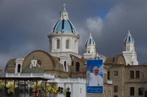 Vista del Santuario de la Virgen del Quinche, momentos antes de la llegada del papa (Foto: LUIS ROBAYO/AFP/Getty Images)