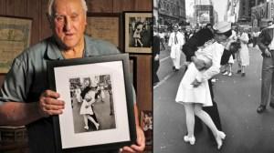 El veterano de la Segunda Guerra Mundial, George Mendosa, de Rhode Island, dice que él es el marinero del famoso beso del fin de la guerra en la revista Life, en Times Square. (Crédito: Getty Images)