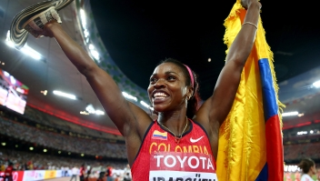 BEIJING, CHINA - AUGUST 24: Caterine Ibarguen of Colombia celebrates after winning gold in the Women's Triple Jump final during day three of the 15th IAAF World Athletics Championships Beijing 2015 at Beijing National Stadium on August 24, 2015 in Beijing, China. (Photo by Cameron Spencer/Getty Images)