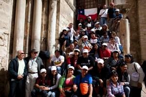 El 24 de febrero de 2011 los 33 mineros chilenos visitaron Tierra Santa como invitados especiales del ministerio de Turismo de Israel. (Crédito: Uriel Sinai/Getty Images)