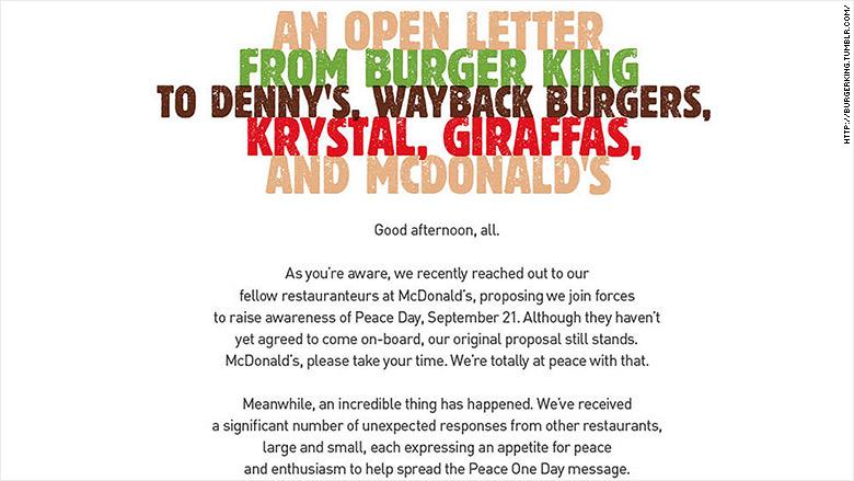 Burger King ha ampliado su oferta del McWhopper, además de McDonald's, a otros cuatro restaurantes rivales, incluyendo a Denny's.