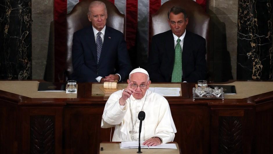 El papa Francisco durante su discurso al Congreso. Crédito: Mark Wilson/Getty Images.