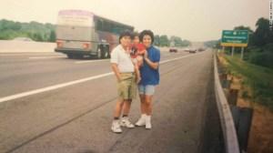 Michelle con sus padres, Julio y Anna, de viaje por Estados Unidos.