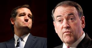 Ted Cruz (izq) y Mike Huckabee (der).