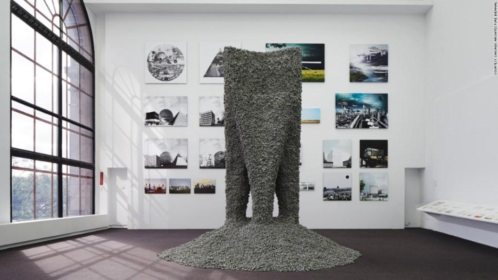 """""""Rock Print"""" – una colaboración entre MIT's Self-Assembly Lab y el arquitecto Gramazio Koehler que reside en Zúrich. (Crédito: Bienal de Arquitectura de Chicago)"""