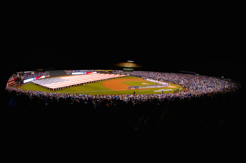 KANSAS CITY, MO - OCTOBER 27: A general view of Kauffman Stadium during the National Anthem prior to Game One of the 2015 World Series between the Kansas City Royals and the New York Mets on October 27, 2015 in Kansas City, Missouri. (Photo by Kyle Rivas/Getty Images)