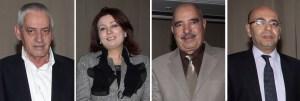 Secretario General de la UGTT, Houcine Abbassi; Presidente de la Unión de empleados tunecinos, Wided Bouchamaoui; presidente de la Liga de Derechos Humanos de Túnez, Abdessattar ben Moussa y el abogado tunecino Fadhel Mahfoudh. (Crédito: /AFP/Getty Images)