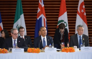 El presidente Obama durante una reunión con líderes del Acuerdo Trans-Pacífico en plenas negociaciones del tratado, en noviembre de 2010. (Crédito:MANDEL NGAN/AFP/Getty Images)