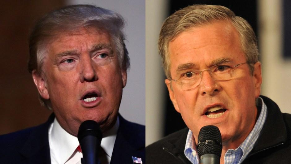 Donald Trump (izq.) retuiteó una foto en la que aparecía Jeb Bush junto a una esvástica. Crédito: Getty Images.