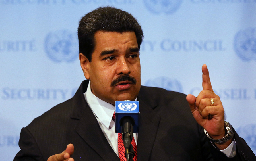 Caption:NEW YORK, NY - JULY 28: Venezuelan President Nicolas Maduro speaks to the media following a meeting with UN chief Ban Ki-moon at the United Nations (UN) headquarters in New York on July 28, 2015 in New York City. Maduro is in New York to speak with the UN about his country's escalating border dispute with Guyana. (Photo by Spencer Platt/Getty Images)