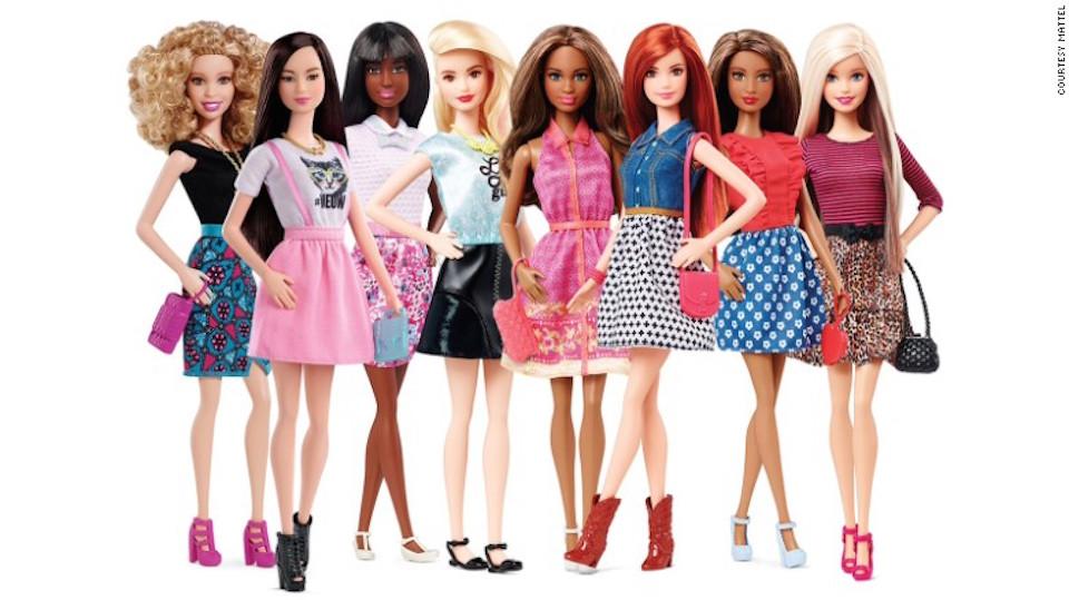 La línea Barbie Fashionista presentó ocho diferentes tonos de piel, 14 estructuras faciales, 22 estilos de pelo de diferentes colores y 18 colores de ojos.
