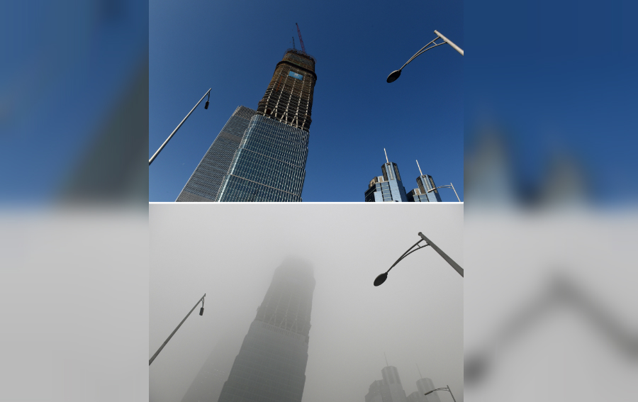 This combination image of two photographs taken on December 3, 2015 (top) and two days earlier on December 1 (bottom) shows a skyscraper under clear skies and in heavy pollution, as seen in the central business district in Beijing. The skies cleared in Beijing on December 2 and 3, after being swathed in choking smog that was nearly 24 times safe levels earlier in the week. AFP PHOTO / GREG BAKER / AFP / GREG BAKER (Photo credit should read GREG BAKER/AFP/Getty Images)