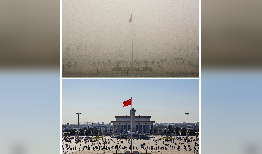 his photo combo shows a general view of people visiting Tiananmen Square during a heavily polluted day on December 1, 2015 (LOWER) and two days later when the smog cleared on December 3 (TOP) in Beijing. The skies cleared in Beijing on December 2 and 3, after being swathed in choking smog that was nearly 24 times safe levels earlier in the week. AFP PHOTO / WANG ZHAO / AFP / WANG ZHAO (Photo credit should read WANG ZHAO/AFP/Getty Images)