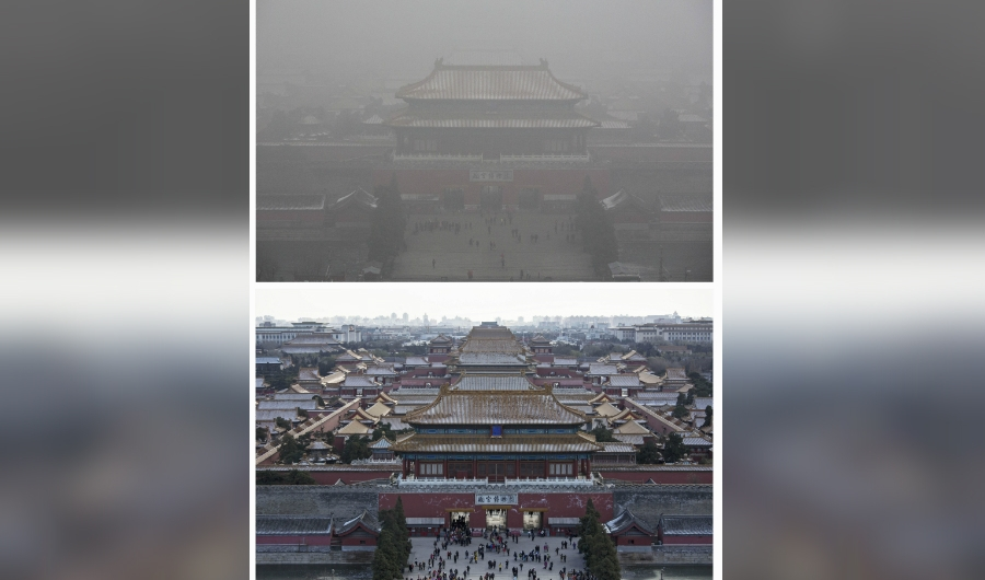 BEIJING, CHINA - DECEMBER 02: In this composite of two separate images, the Forbidden City is seen in heavy pollution, top, on December 1 and 24 hours later under a clear sky on December 2, 2015 in Beijing, China. Until a strong north wind arrived late Tuesday, China's capital and many cities in the northern part of the country recorded the worst smog of the year on November 30 and December 1, 2015 with air quality devices in some areas unable to read such high levels of pollutants. Levels of PM 2.5, considered the most hazardous, crossed 600 units in Beijing, nearly 25 times the acceptable standard set by the World Health Organization. The governments of more than 190 countries are meeting in Paris this week to set targets on reducing carbon emissions in an attempt to forge a new global agreement on climate change.(Photo by Kevin Frayer/Getty Images)