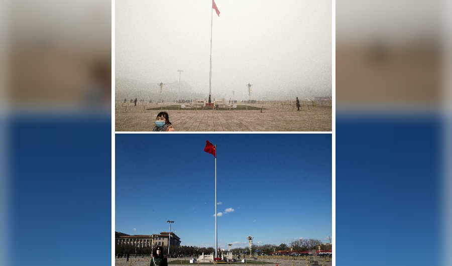 In this composite of two separate images, Tiananmen Square is seen in heavy pollution, top, on December 1 and 24 hours later under a clear sky on December 2, 2015 in Beijing, China. Until a strong north wind arrived late Tuesday, China's capital and many cities in the northern part of the country recorded the worst smog of the year on November 30 and December 1, 2015 with air quality devices in some areas unable to read such high levels of pollutants. Levels of PM 2.5, considered the most hazardous, crossed 600 units in Beijing, nearly 25 times the acceptable standard set by the World Health Organization. The governments of more than 190 countries are meeting in Paris this week to set targets on reducing carbon emissions in an attempt to forge a new global agreement on climate change.(Photo by Kevin Frayer/Getty Images)