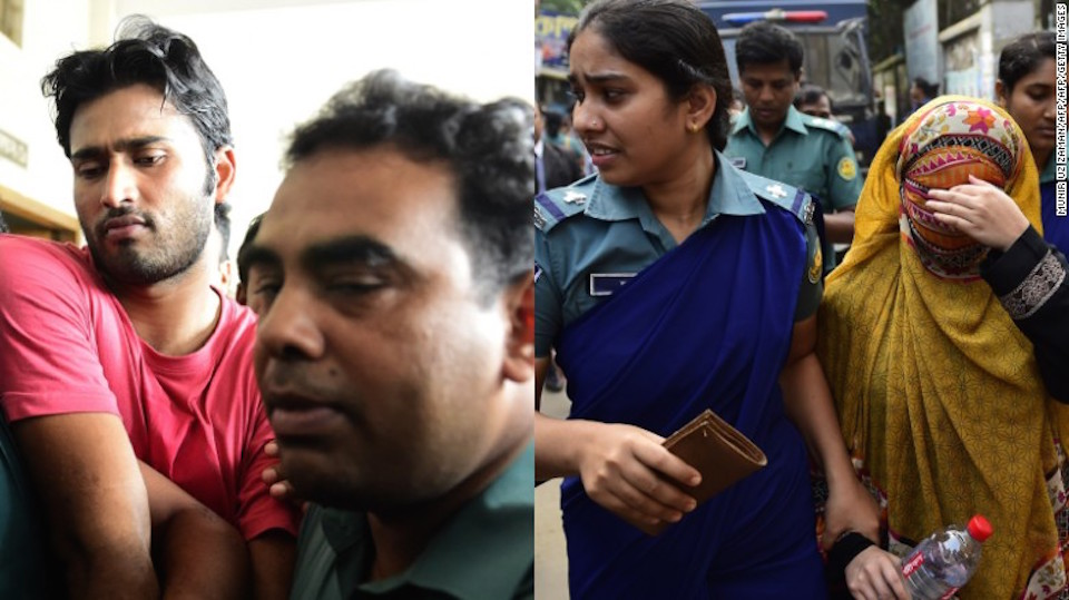 Shahadat Hossain y su esposa, Nritto Shahadat, son escoltados por seguridad durante su comparecencia en el juzgado en octubre.