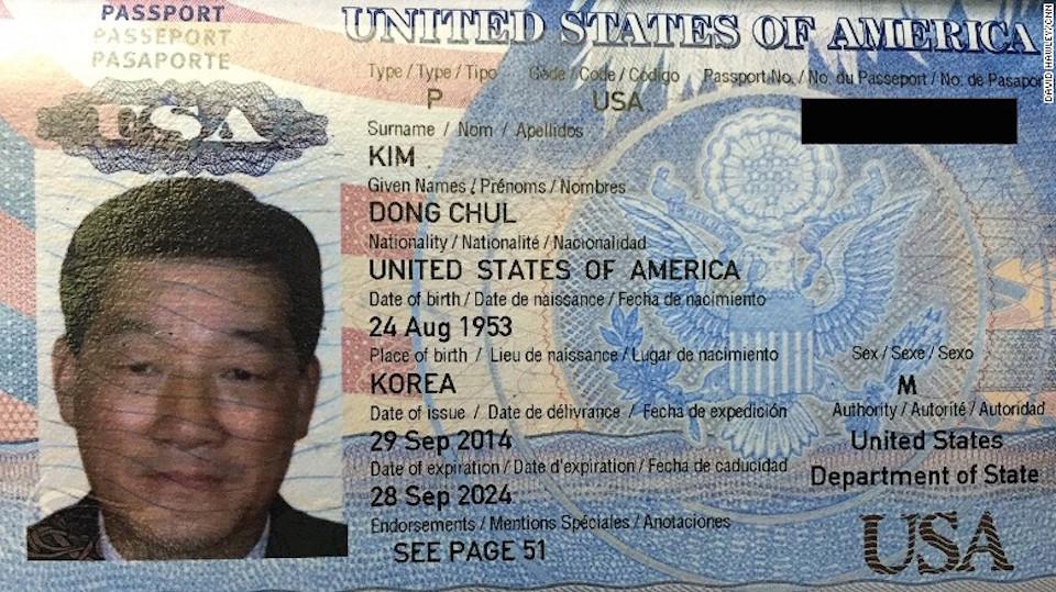 Un pasaporte estadounidense para Kim Dong Chul fue proporcionado a CNN por funcionarios norcoreanos.