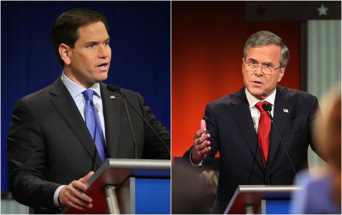 Marco Rubio y Jeb Bush (Crédito:Scott Olson/Getty Images)