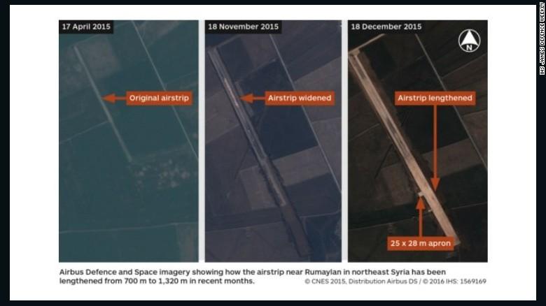 Las imágenes de satélite obtenidas por IHS Jane's muestran una pista de aterrizaje al noreste de Siria, la cual supuestamente está siendo utilizada por las fuerzas estadounidenses y ha sido ampliada en los últimos meses.