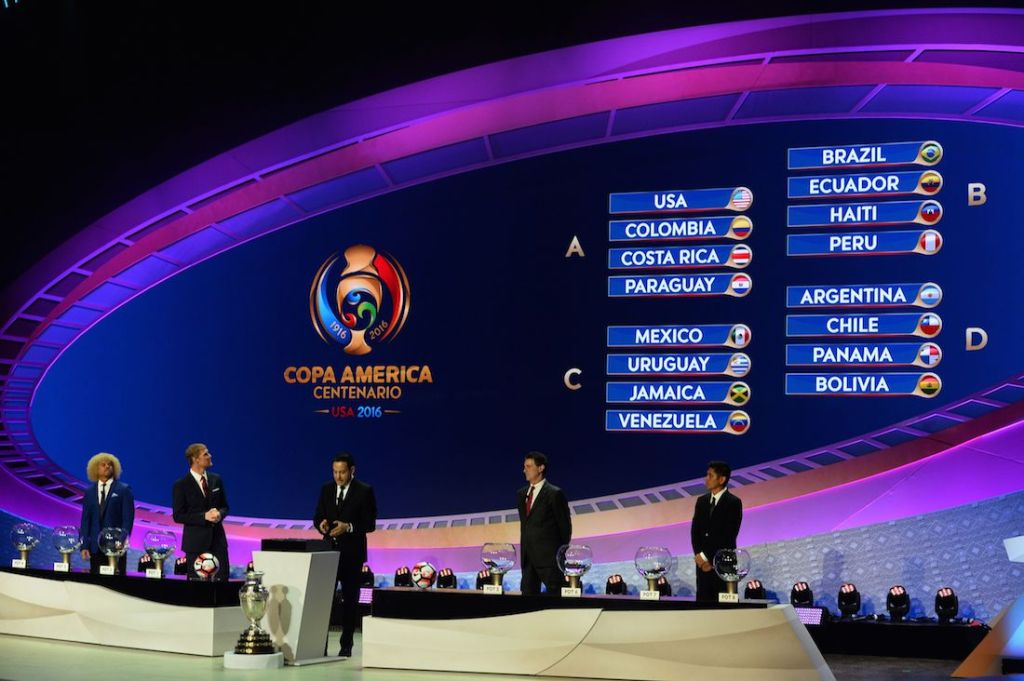 (L-R) Carlos Valderrama, Alexi Lalas, CONCACAF deputy general Jurgen Mainka, Mario Kempes and Jorge Campos look at the screen after the draw for the Copa America Centenario 2016 championship at the Hammerstein Ballroom in New York on February 21, 2016. The Copa America Centenario, a once-in-a-lifetime soccer summer event, which honors 100 years of the Copa America tournament, will take place in the US from June 3-26, 2016. / AFP / Mladen ANTONOV (Photo credit should read MLADEN ANTONOV/AFP/Getty Images)