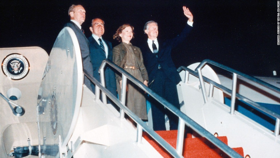Former Presidents Ford, Nixon and Carter on the steps of Boeing VC-137C SAM 26000 (Air Force One). (U.S. Air Force photo)