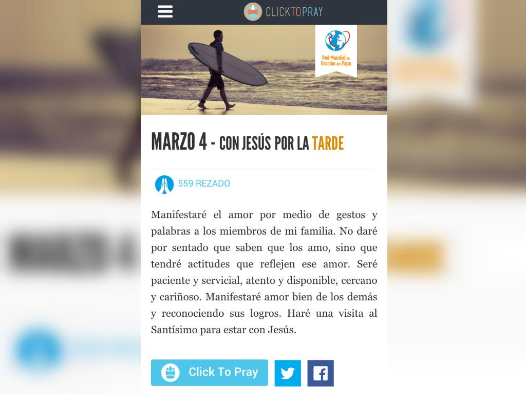 Clic to pray, la app para rezar con el papa Francisco.