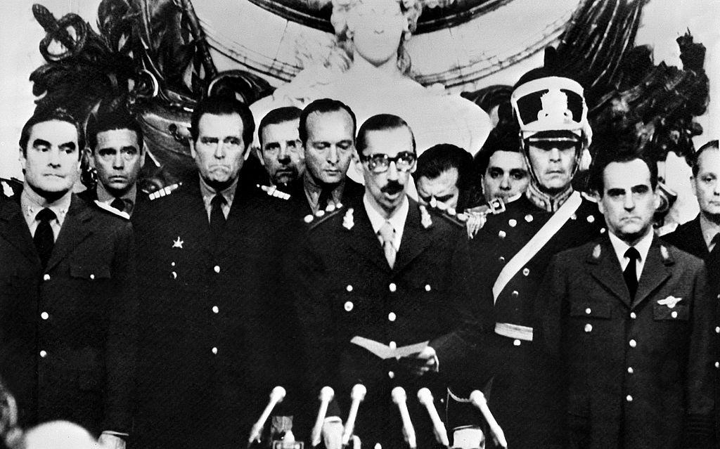 La Junta Militar que se tomó el poder en Argentina en marzo de 1974. (Crédito: OFF/AFP/Getty Images)