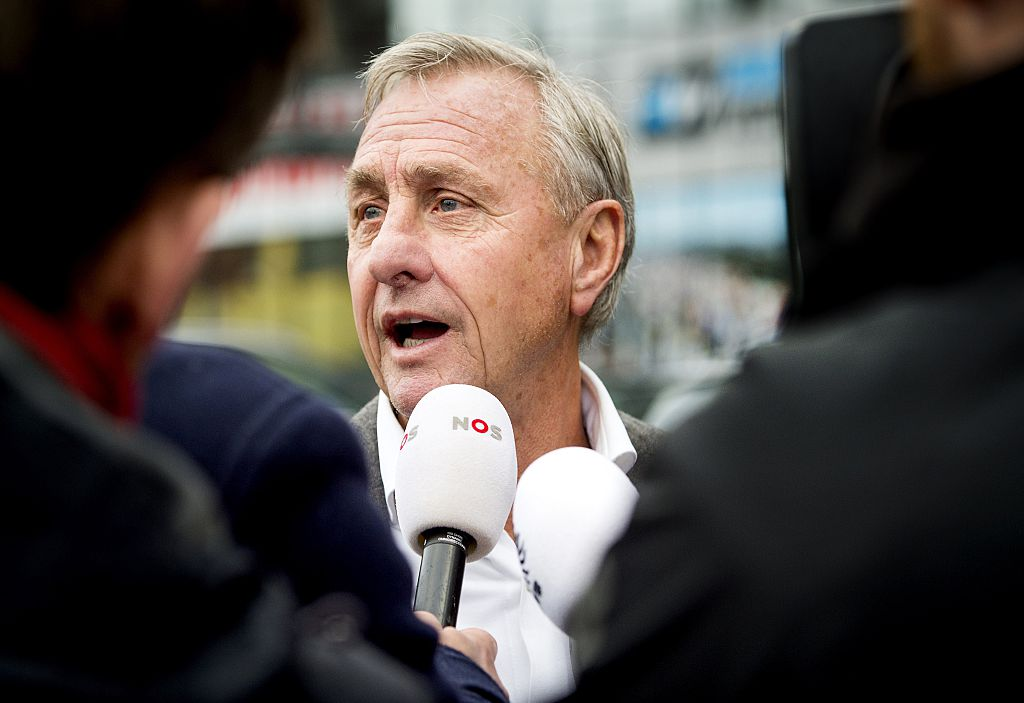 Former Dutch footballer and ex- FC Barcelona head coach Johan Cruyff speaks to journalists prior to the KNVB (Royal Dutch Soccer Association) congress at the Galgenwaard stadium in Utrecht on December 15, 2014. AFP PHOTO/ANP/ROBIN VAN LONKHUIJSEN - Netherlands out - Belgium out (Photo credit should read Koen van Weel/AFP/Getty Images)