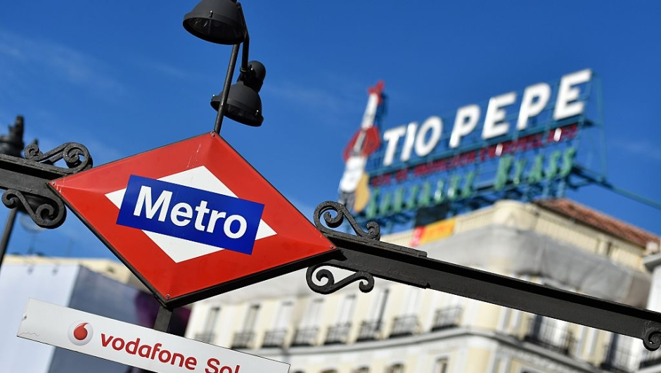 A picture taken on November 26, 2015 shows a Puerta del Sol metro sign at the Puerta del Sol square in the centre of Madrid. AFP PHOTO/ GERARD JULIEN / AFP / GERARD JULIEN (Photo credit should read GERARD JULIEN/AFP/Getty Images)