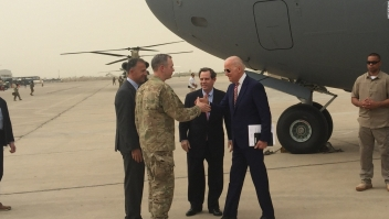 Joe Biden a su llegada a Iraq.