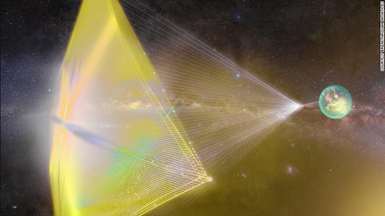 """Breakthrough Starshot — Esta ilustración muestra rayos de luz desde la tierra impulsando pequeñas sondas espaciales, como propone el proyecto Breakthrough Starshot que enviaría cientos de """"nanonaves"""" a a estrellas distantes a 4,37 años luz de distancia para explorar el sistema solar Alpha Centauri."""