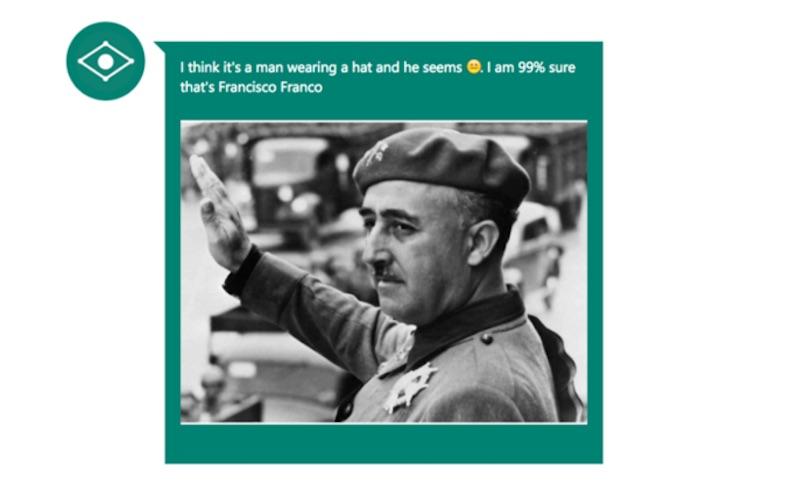 """""""Estoy un 99% seguro que es Francisco Franco"""", dice el CaptionBot. (Crédito: Microsoft/Cortesía)"""