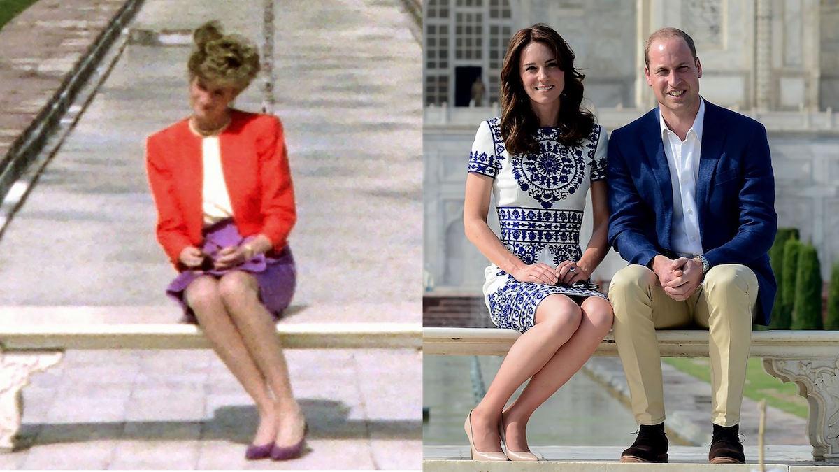La foto de la princesa Diana fue tomada en febrero de 1992; los Duques de Cambridge posaron en el mismo lugar en abril de 2016. (Crédito: Getty Images)