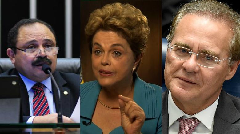 Waldir Maranhão, presidente interino de la Cámara; Dilma Rousseff, presidenta de Brasil y Renan Calheiros, presidente del Senado. (Crédito: Getty Images/CNN)