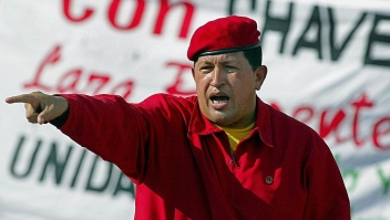 Venezuelan President Hugo Chavez addresses supporters during a demonstration in Caracas 23 August 2003, celebrating his second three-year government (2000-2006). (Photo credit should read JUAN BARRETO/AFP/Getty Images)