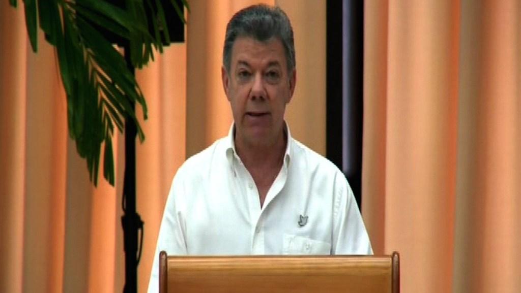 El presidente Juan Manuel Santos durante su discurso.