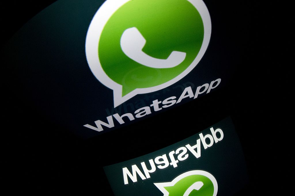 "The logo of mobile app ""WhatsApp"" is displayed on a tablet on January 2, 2014 in Paris. AFP PHOTO / LIONEL BONAVENTURE (Photo credit should read LIONEL BONAVENTURE/AFP/Getty Images"
