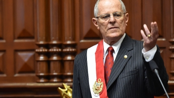 "Pedro Pablo Kuczynski gives a speech after sworning in as Perus President, at the National Congress building in Lima on July, 28, 2016. Kuczynski, who will be sworn in Thursday as president of Peru, says he will hit the ground running after a long career as a Wall Street banker that gave him the moniker ""El Gringo. ""Kuczynski, 77, defeated Keiko Fujimori, the daughter of a jailed former president, in a hard-fought presidential election last month that was decided by a razor-thin margin. / AFP / CRIS BOURONCLE (Photo credit should read CRIS BOURONCLE/AFP/Getty Images)"