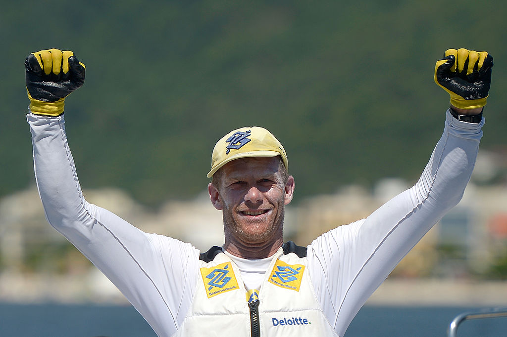 RIO DE JANEIRO, BRAZIL - JANUARY 11: Robert Scheidt celebrates the victory in sail on Sao Francisco beach for the Brazil Sail Cup 2014 on January 11, 2014 in Rio de Janeiro, Brazil. (Photo by Alexandre Loureiro/Getty Images)