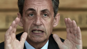 "Former French president and head of the right-wing opposition party ""Les Republicains"" (The Republicans) Nicolas Sarkozy gestures while speaking during a meeting with farmers on July 9, 2016 in Kriegsheim, eastern France. / AFP / FREDERICK FLORIN (Photo credit should read FREDERICK FLORIN/AFP/Getty Images)"