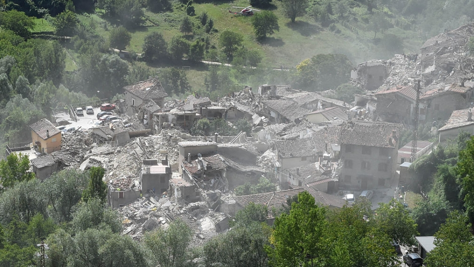PESCARA DEL TRONTO, ITALY - AUGUST 24: A general view of Pescara del Tronto town destroyed by the earthquake on August 24, 2016 in Pescara del Tronto, Italy. Central Italy was struck by a powerful, 6.2-magnitude earthquake in the early hours, which has killed at least thirty seven people and devastated dozens of mountain villages. Numerous buildings have collapsed in communities close to the epicenter of the quake near the town of Norcia in the region of Umbria, witnesses have told Italian media, with an increase in the death toll highly likely (Photo by Giuseppe Bellini/Getty Images)