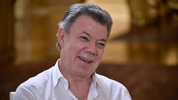 Colombia's President Juan Manuel Santos smiles during an interview with AFP at Casa de Narino presidential palace in Bogota, Colombia, on September 5, 2016. / AFP / GUILLERMO LEGARIA (Photo credit should read GUILLERMO LEGARIA/AFP/Getty Images)