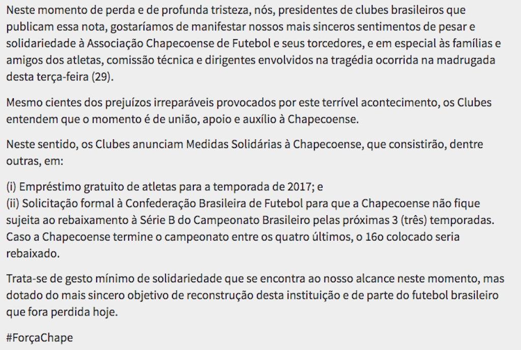Comunicado publicado por varios clubes de fútbol de Brasil. (Crédito: Santosfc)