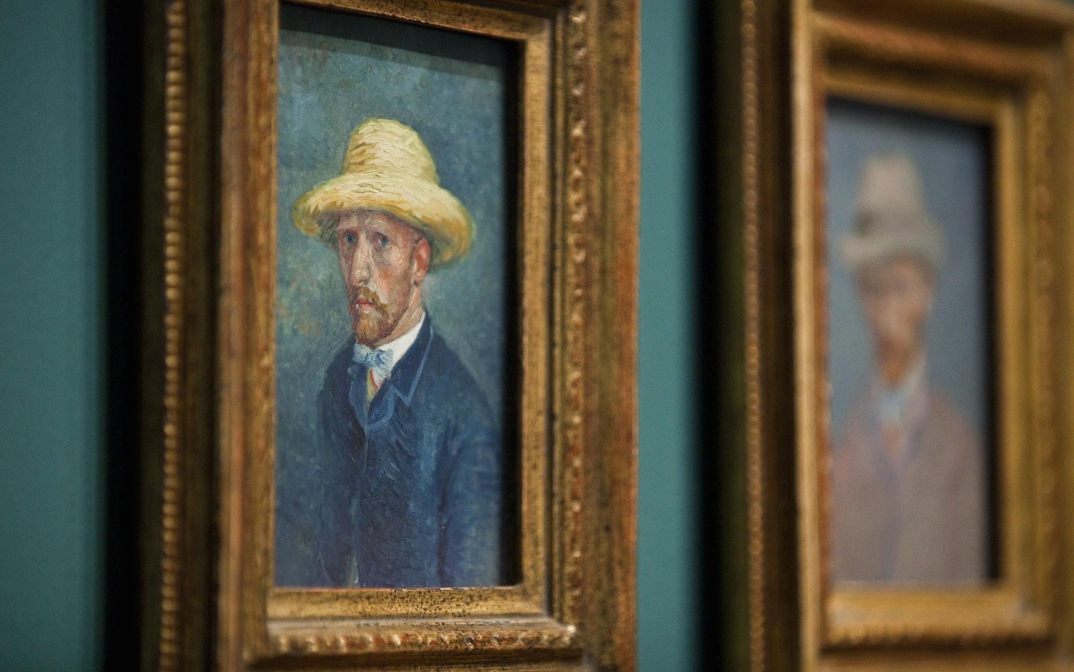 Paintings of dutch painter Vincent van Gogh are hung in the Van Gogh Museum in Amsterdam The Netherlands June 21th 2011.  The museum discovered a painting of Theo van Gogh, the brother of Vincent van Gogh. After new research the museum thinks that a selfportrait of Van Gogh from 1887 (L) is a portrait of his brother. The new exhibition Van Gogh in Antwerpen and Paris in the Van Gogh museum opens for the public on June 22. AFP PHOTO / ANP / ILVY NJIOKIKTJIEN ***netherlands out - belgium out*** (Photo credit should read Ilvy Njiokiktjien/AFP/Getty Images)