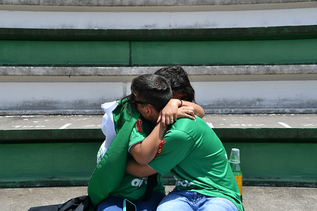 tribute to the players of Brazilian team Chapecoense Real who were killed in a plane accident in the Colombian mountains, at the club's Arena Conda stadium in Chapeco, in the southern Brazilian state of Santa Catarina, on November 29, 2016. Players of the Chapecoense were among 81 people on board the doomed flight that crashed into mountains in northwestern Colombia, in which officials said just six people were thought to have survived, including three of the players. Chapecoense had risen from obscurity to make it to the Copa Sudamericana finals scheduled for Wednesday against Atletico Nacional of Colombia. / AFP / Nelson ALMEIDA (Photo credit should read NELSON ALMEIDA/AFP/Getty Images)